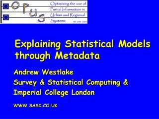 Explaining Statistical Models through Metadata
