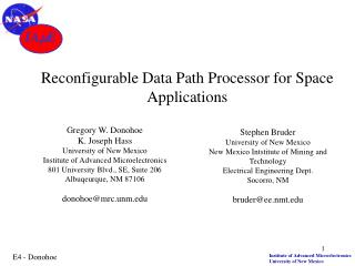 Reconfigurable Data Path Processor for Space Applications