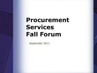 Procurement Services Fall Forum