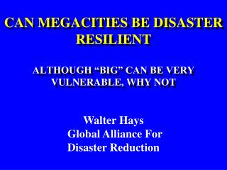 """CAN MEGACITIES BE DISASTER RESILIENT ALTHOUGH """"BIG"""" CAN BE VERY VULNERABLE, WHY NOT"""