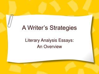 A Writer's Strategies