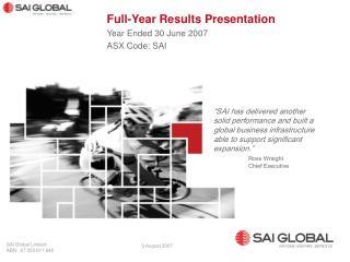 SAI Global Limited ABN: 67 050 611 642