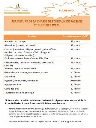 FERMETURE DE LA CHASSE DES OISEAUX DE PASSAGE ET DU GIBIER D'EAU