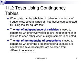 11.2 Tests Using Contingency Tables
