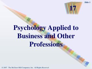Psychology Applied to Business and Other Professions