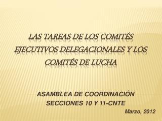 LAS TAREAS DE LOS COMITÉS EJECUTIVOS DELEGACIONALES Y LOS COMITÉS DE LUCHA
