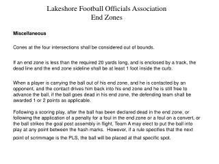 Lakeshore Football Officials Association End Zones