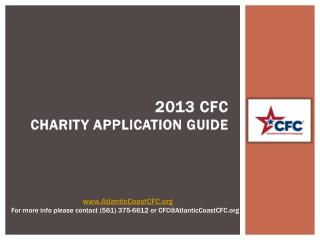 2013 CFC CHARITY APPLICATION GUIDE