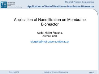 Application of Nanofiltration on Membrane Bioreactor