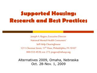 Supported Housing: Research and Best Practices