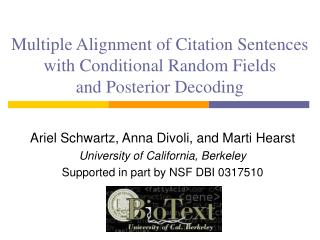Multiple Alignment of Citation Sentences with Conditional Random Fields and Posterior Decoding