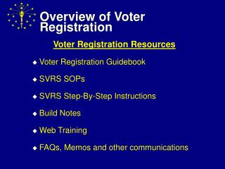Overview of Voter Registration