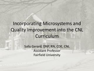 Incorporating Microsystems and Quality Improvement into the CNL  Curriculum