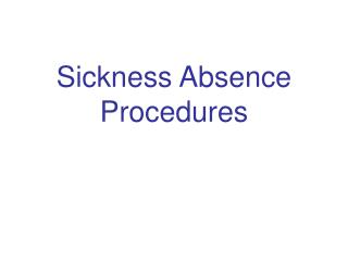 sickness absence procedures