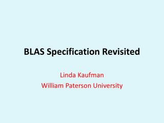 BLAS Specification Revisited