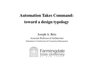 Automation Takes Command: toward a design typology