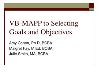 VB-MAPP to Selecting Goals and Objectives