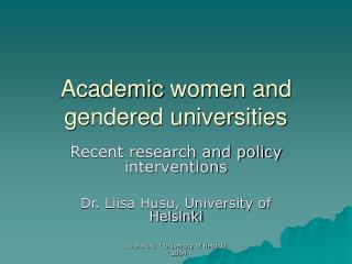 Academic  women and gendered universities
