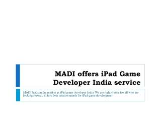 iPad Game Development service from MADI