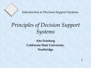 Principles of Decision Support Systems