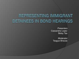 Representing Immigrant Detainees in Bond Hearings