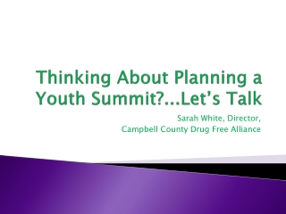 Thinking About Planning a Youth Summit?...Let's Talk