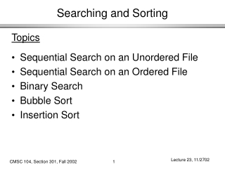 Searching and Sorting
