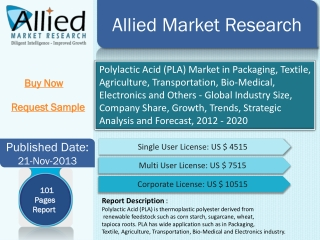 Polylactic Acid (PLA) Market in Packaging, Textile, Agricult
