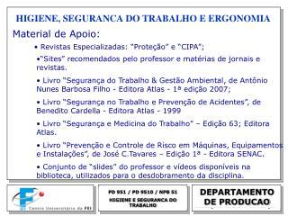 PD 951 / PD 9510 / NPB 51 HIGIENE E SEGURANCA DO TRABALHO