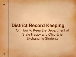 District Record Keeping