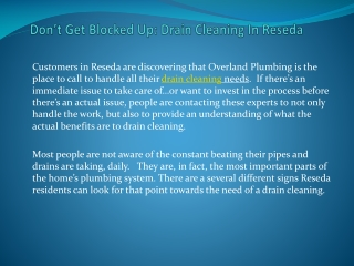 Dont Get Blocked Up: Drain Cleaning In Reseda