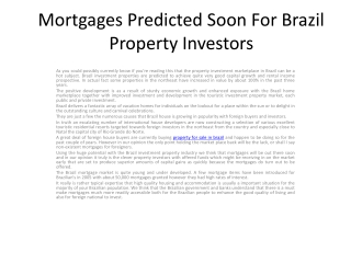 Mortgages Predicted Soon For Brazil Property Investors