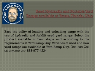 Used Hydraulic and Portable Yard Ramps available at Texas, F