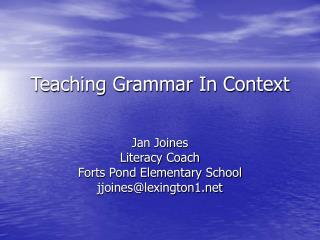 Teaching Grammar In Context