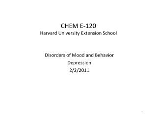 CHEM E-120 Harvard University Extension School