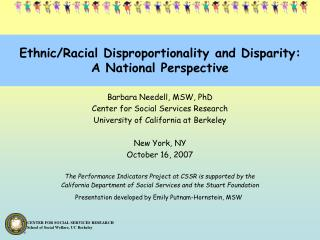 Ethnic/Racial Disproportionality and Disparity: A National Perspective