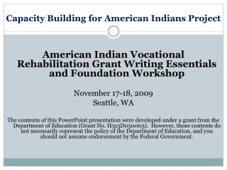 Capacity Building for American Indians Project