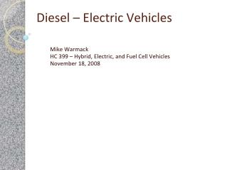 Diesel – Electric Vehicles