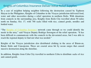 Knights of Columbus Insurance Deliver Initial Relief Supplie