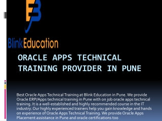Oracle apps technical  training provider in Pune
