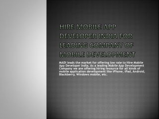 Mobile Application Development Company MADI
