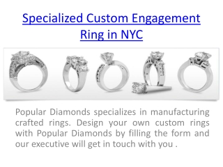 Get Specialized Custom Engagement Ring in NYC