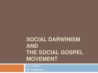 Social  Darwinism  and  The Social Gospel Movement
