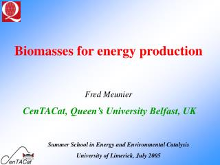 Biomasses for energy production Fred Meunier CenTACat,  Queen's University Belfast, UK