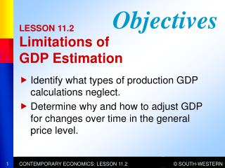LESSON 11.2 Limitations of GDP Estimation