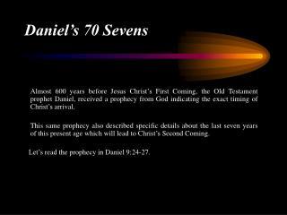 Daniel's 70 Sevens