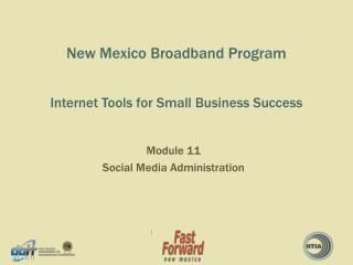 New Mexico Broadband Program Internet Tools for Small  B usiness Success
