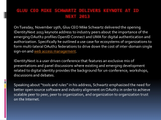 Gluu CEO Mike Schwartz delivers keynote at ID Next 2013