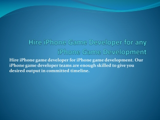 Looking for iPhone Game Development India solutions