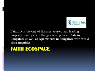 Faith Inc - Apartments in Bangalore, Flats in Bangalore